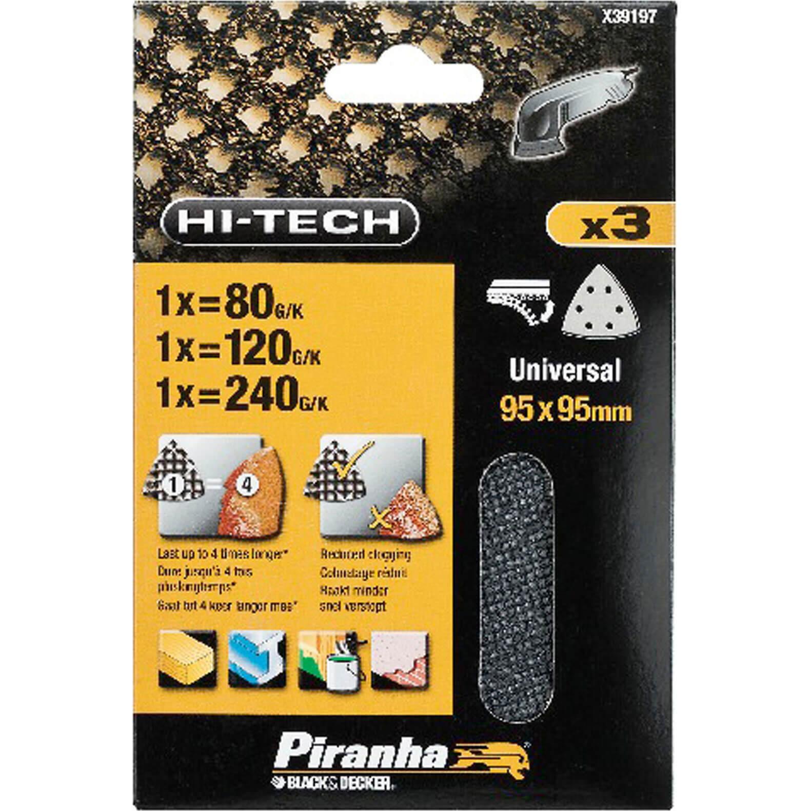 Image of Black & Decker Piranha Hi Tech Quick Fit Mesh Delta Sanding Sheets 95mm x 95mm 120g Pack of 3