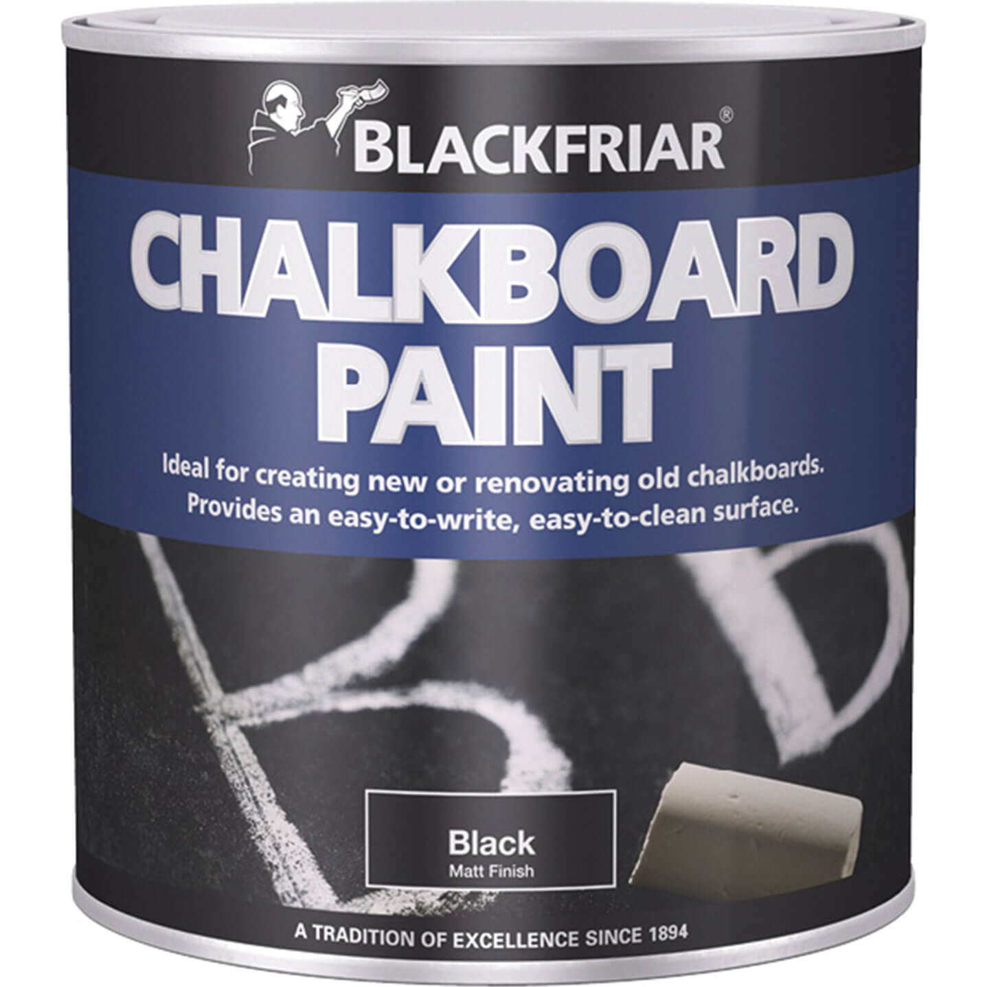 Image of Blackfriar Chalkboard Paint for Renovating or Creating Chalkboards Black 125ml