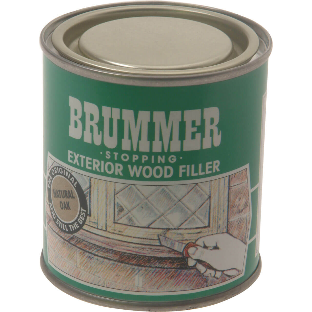 Image of Brummer Green Label Exterior Stopping Wood Filler Medium Oak 625g