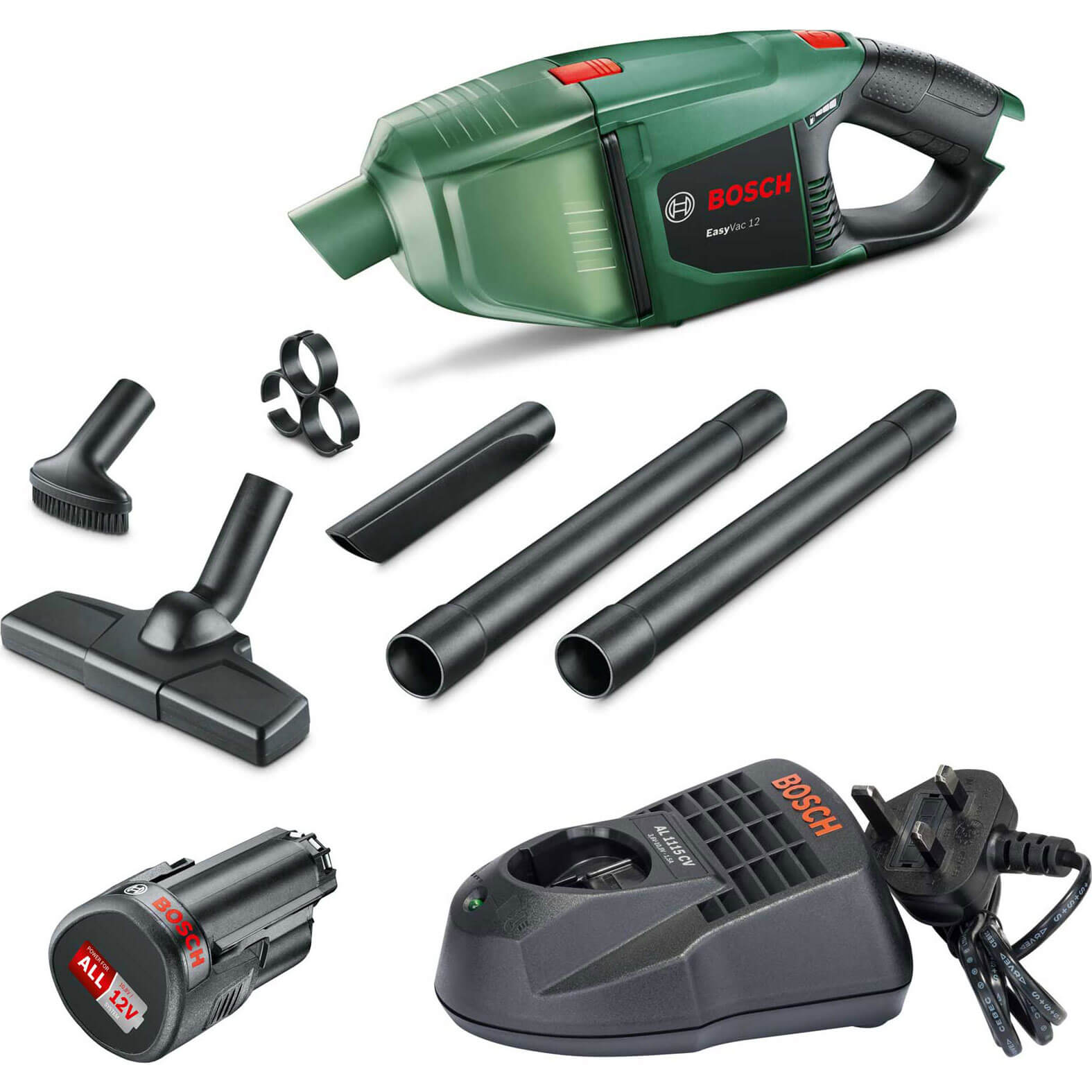 Bosch EASYVAC 12v Cordless Hand Held Vacuum Cleaner 1 x 2.5ah Li-ion Charger No Case