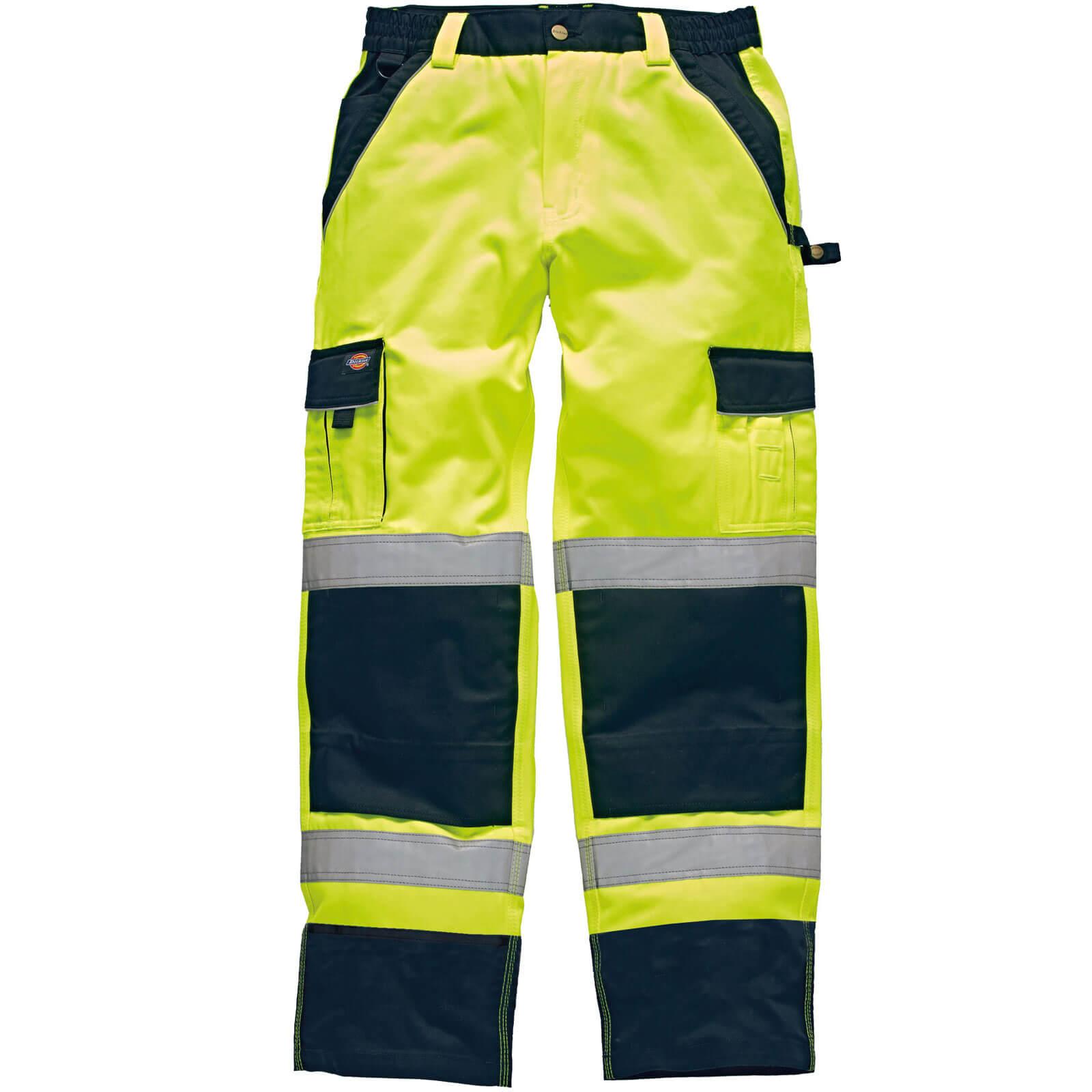 """Dickies Mens Hi Vis Industry Trousers Yellow / Navy 44"""" 31"""""""
