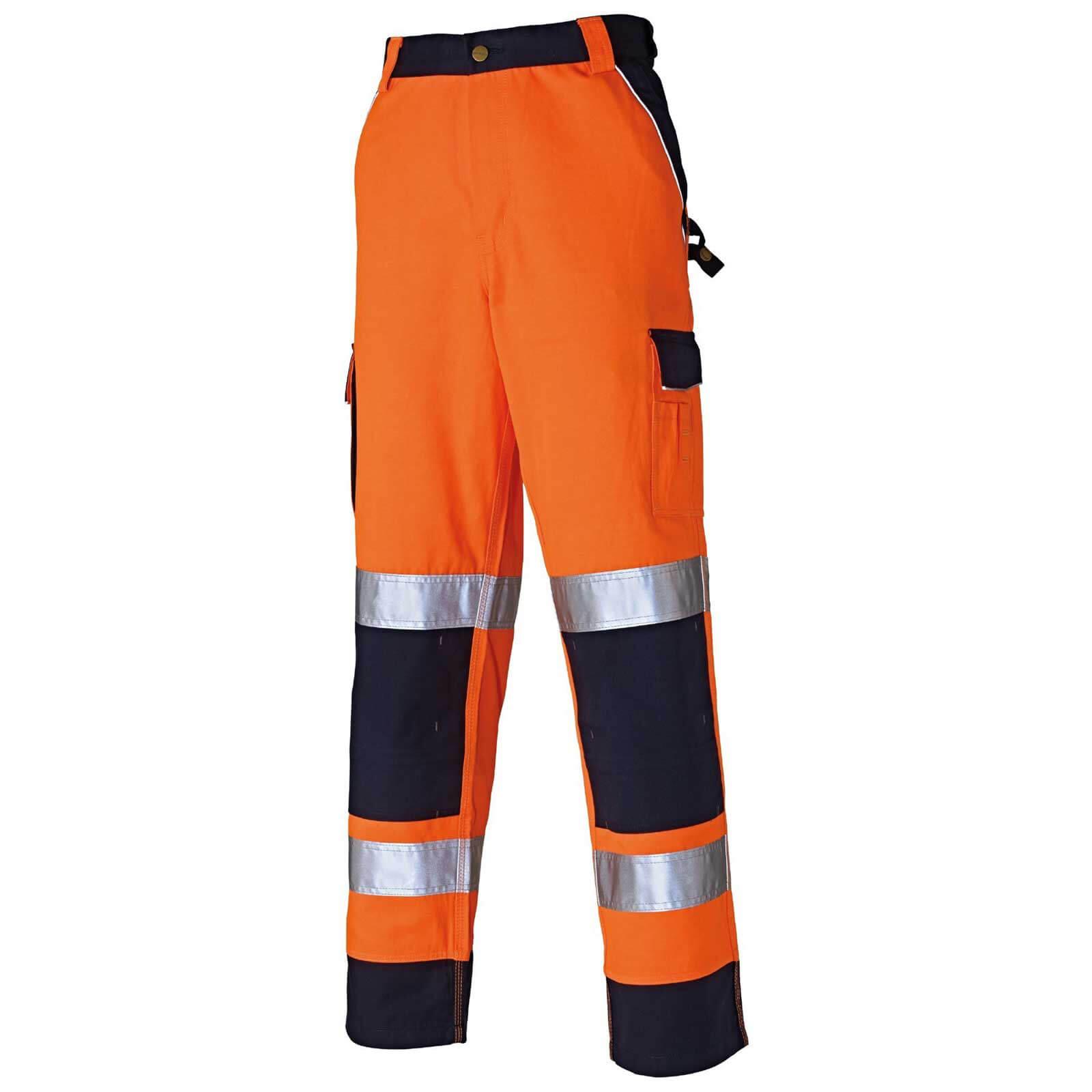 """Dickies Mens Hi Vis Industry Trousers Orange / Navy 34"""" 31"""""""