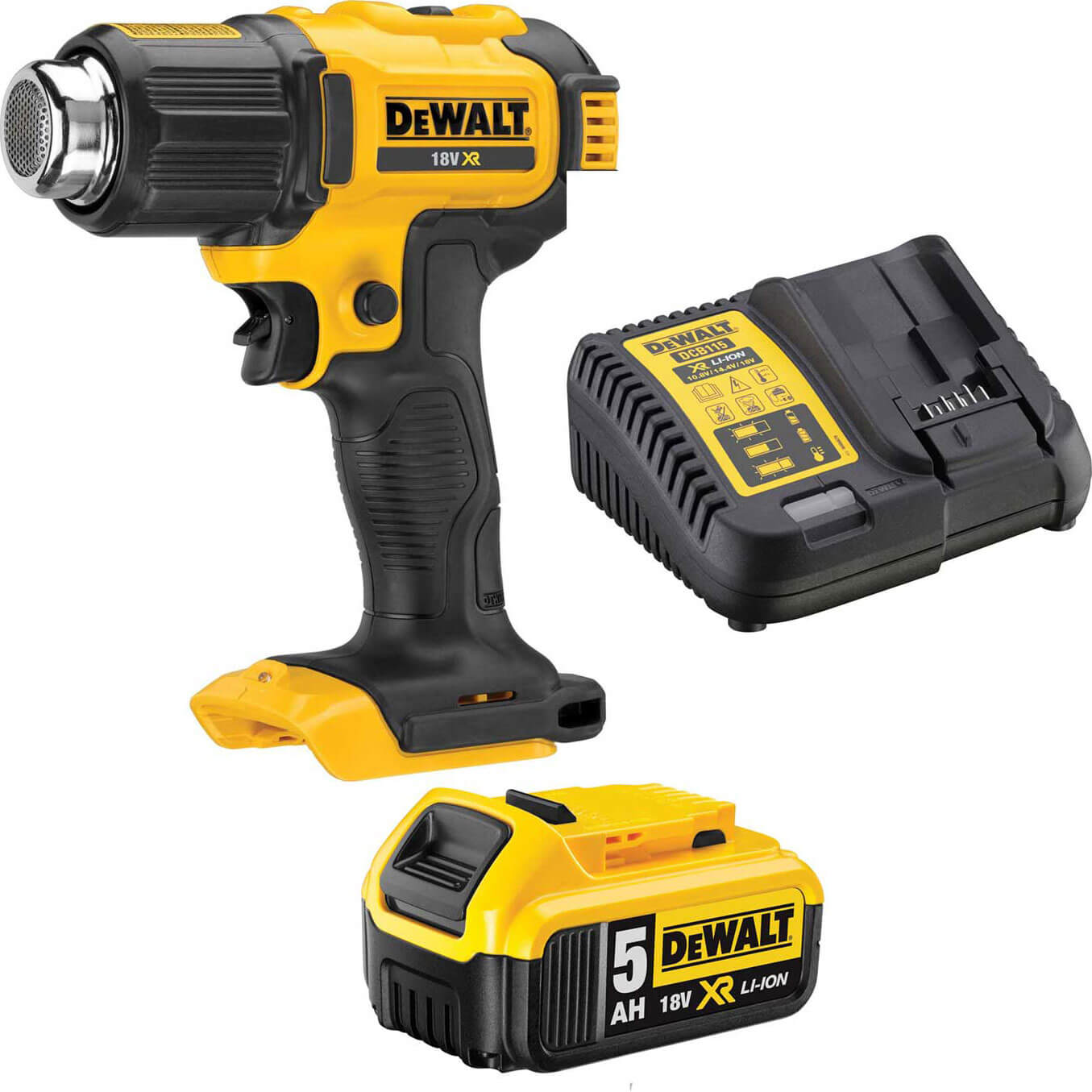 DeWalt DCE530 18v XR Cordless Hot Air Heat Gun 1 x 5ah Li-ion Charger No Case