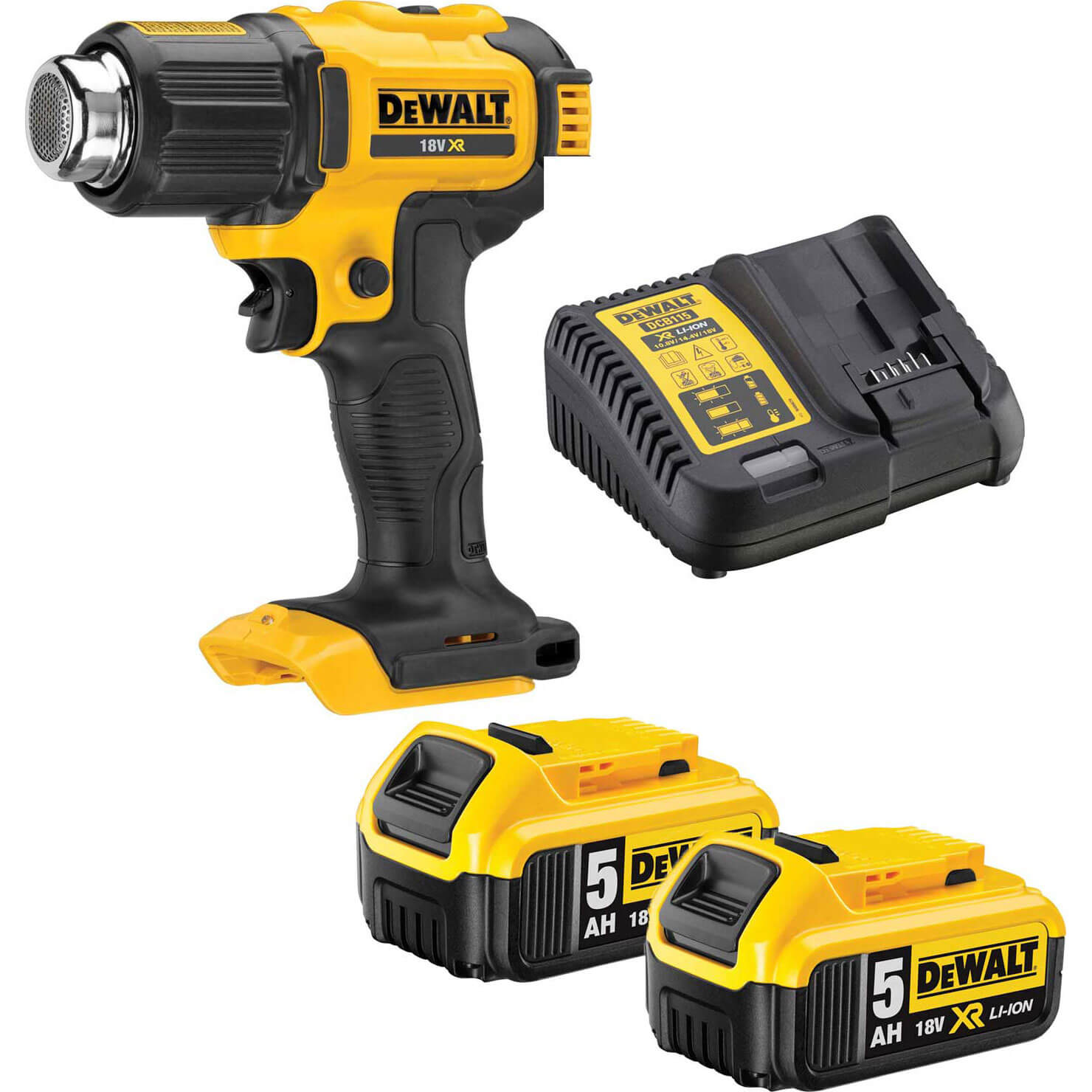 DeWalt DCE530 18v XR Cordless Hot Air Heat Gun 2 x 5ah Li-ion Charger No Case