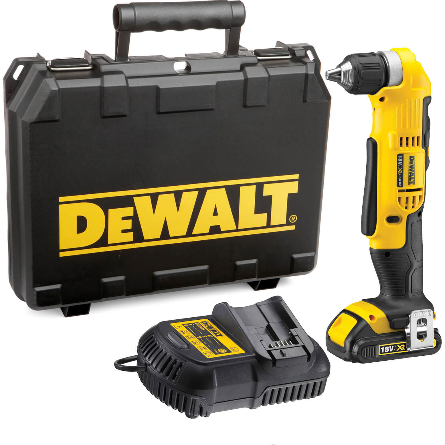 Image of DeWalt DCD740 18v XR Cordless Right Angle Drill 1 x 1.5ah Li-ion Charger Case