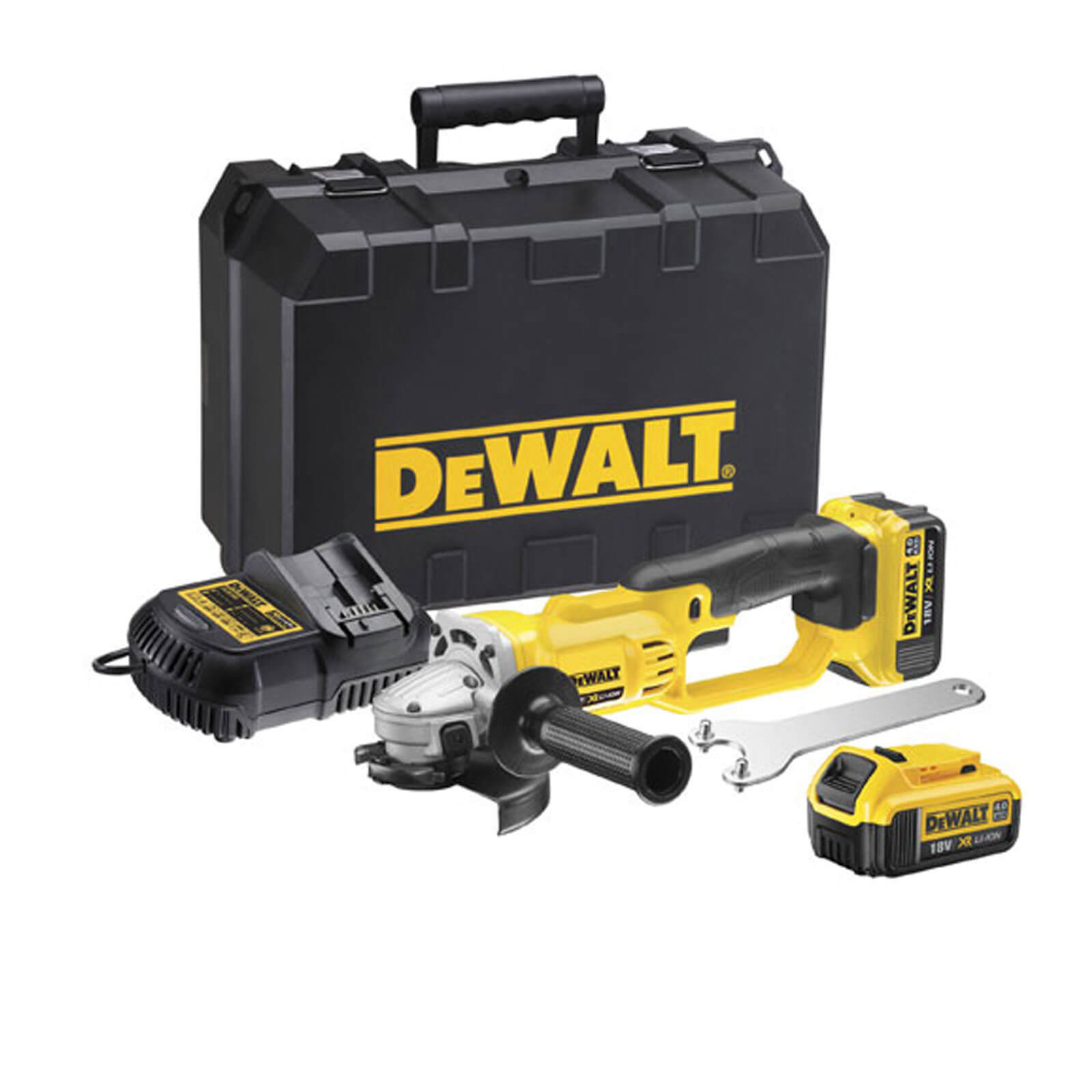 Image of DeWalt DCG412 18v XR Cordless Angle Grinder 125mm 2 x 4ah Li-ion Charger Case