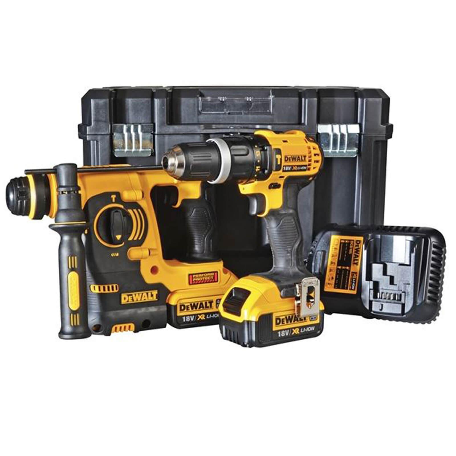 Image of Dewalt DCK206M2 18v Cordless SDS Hammer Drill & Combi Drill Kit 2 x 4ah Li-ion Charger Case