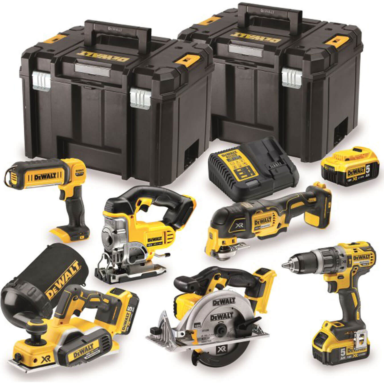 DeWalt DCK665 18v XR Cordless 6 Piece Power Tool Kit 3 x 5ah Liion Charger Case