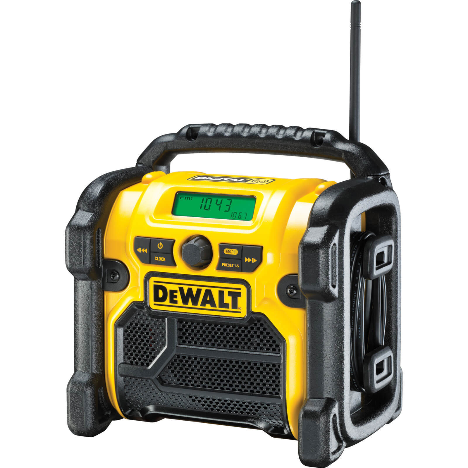 Image of DeWalt DCR020 XR DAB Job Site Workshop Radio 240v