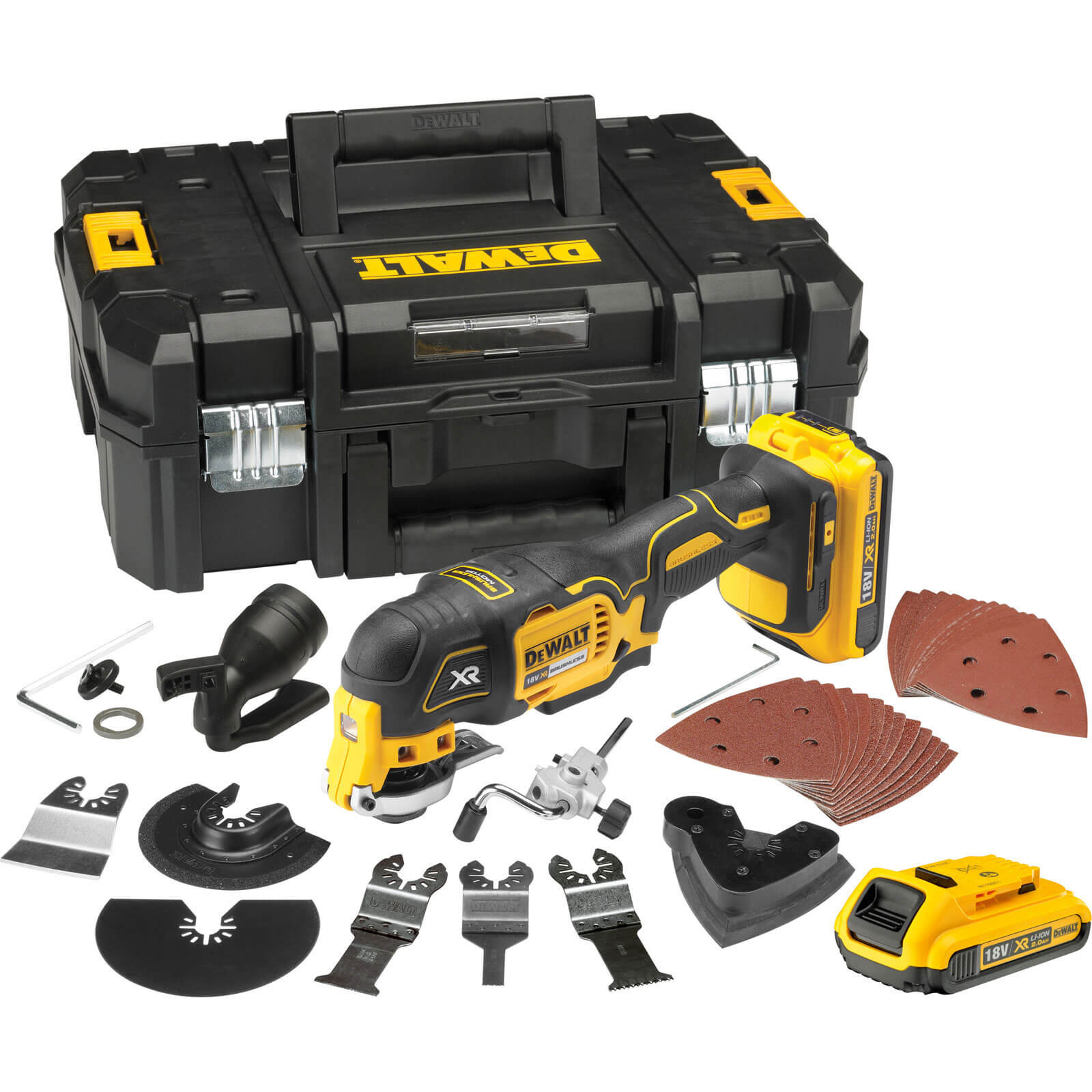 DeWalt DCS355 18v XR Cordless Multi Tool 2 x 2ah Liion Charger Case & Accessories