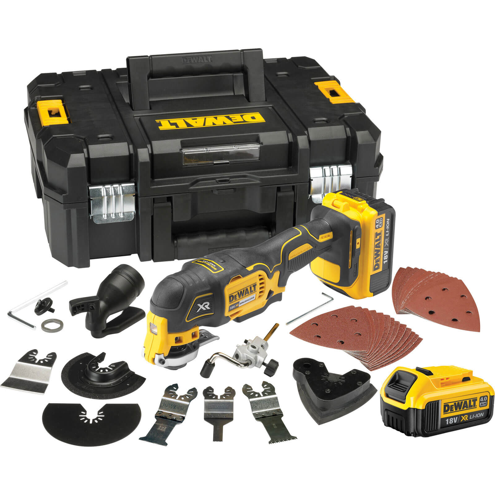 DeWalt DCS355 18v XR Cordless Multi Tool 2 x 4ah Liion Charger Case & Accessories