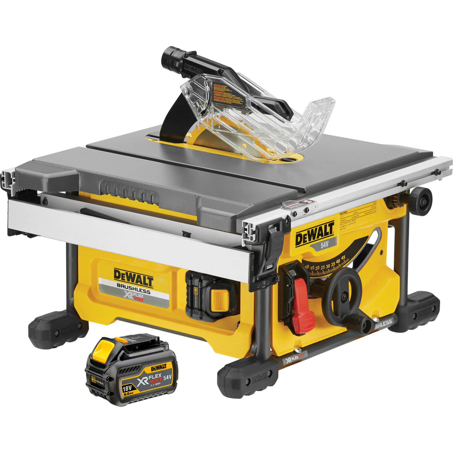DeWalt DeWALT DCS7485T2 XR FLEXVOLT Table Saw 2 x 54V Batteries
