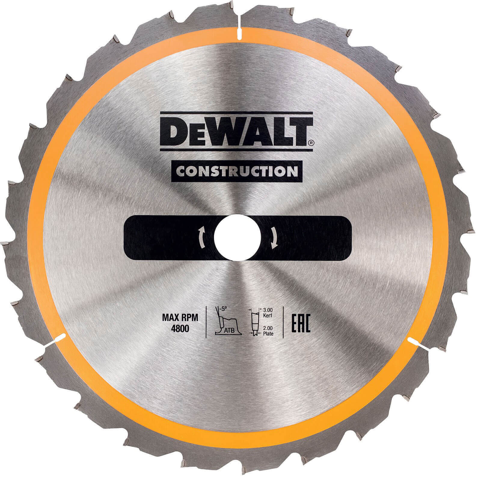 Image of DeWalt Construction Circular Saw Blade 160mm 18T 20mm