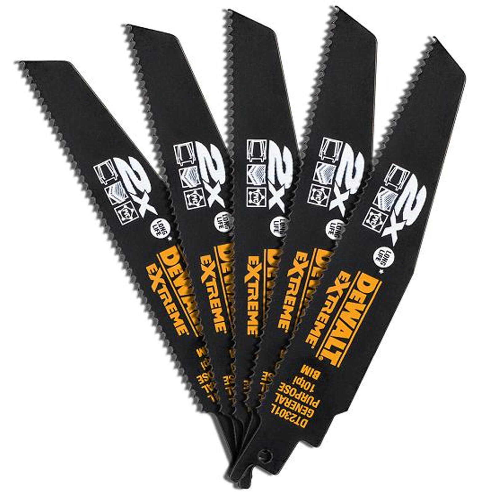 Image of DeWalt Extreme 2X Life General Purpose Reciprocating Saw Blades 152mm Pack of 5