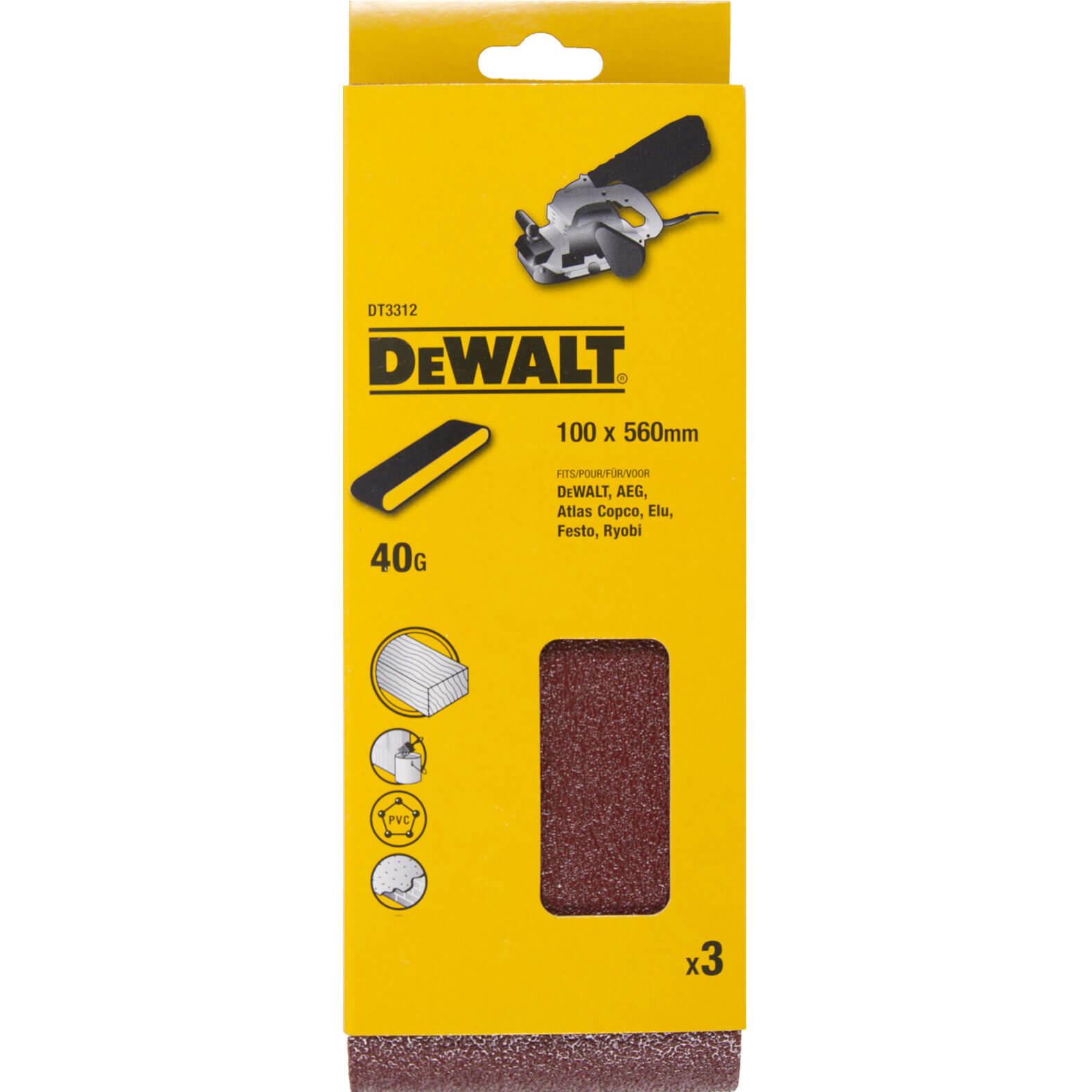 Image of DeWalt 100 x 560mm Multi Purpose Sanding Belts 100mm x 560mm 40g Pack of 3