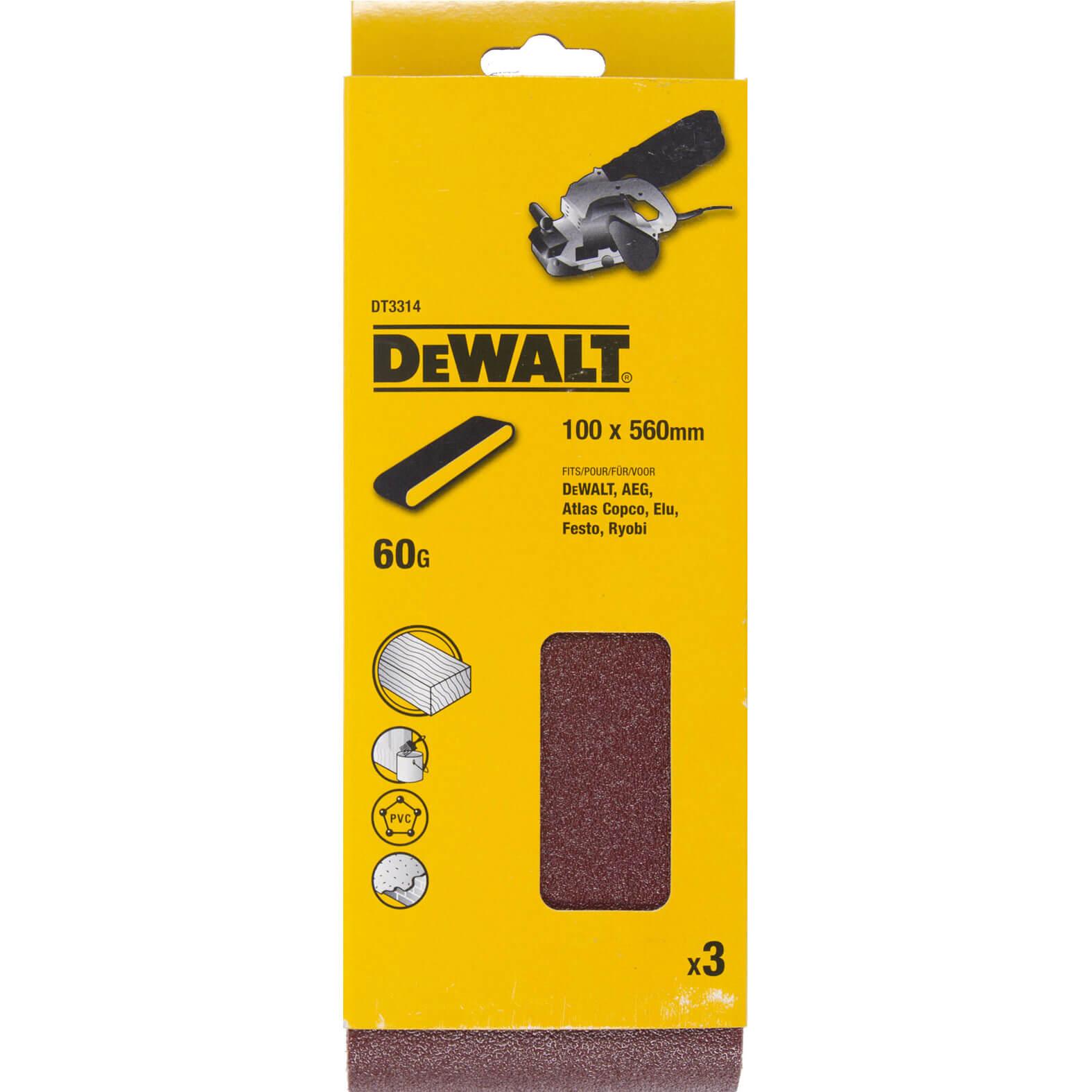 Image of DeWalt 100 x 560mm Multi Purpose Sanding Belts 100mm x 560mm 60g Pack of 3