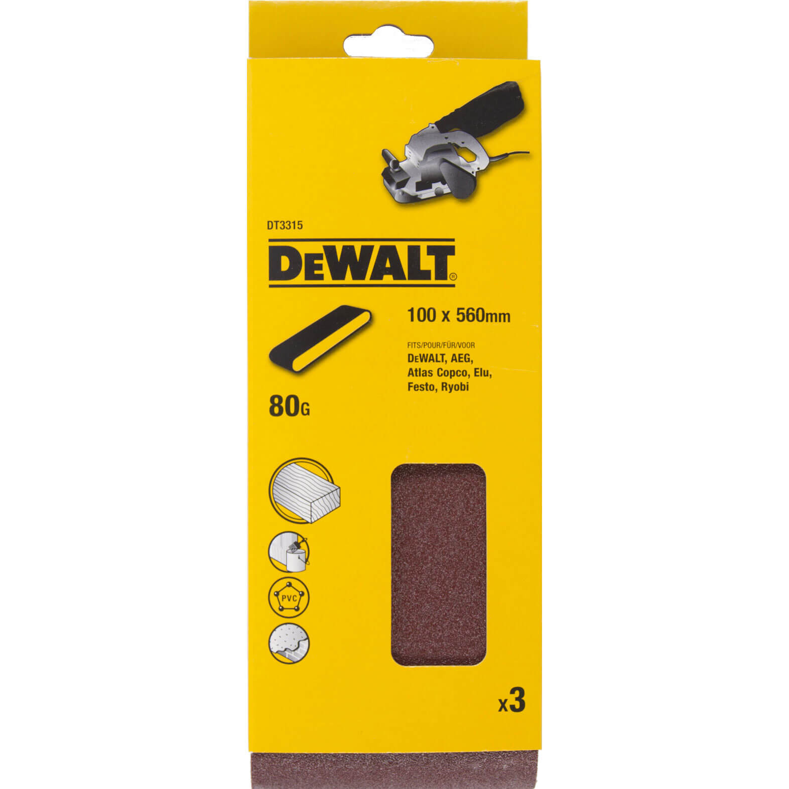 Image of DeWalt 100 x 560mm Multi Purpose Sanding Belts 100mm x 560mm 80g Pack of 3