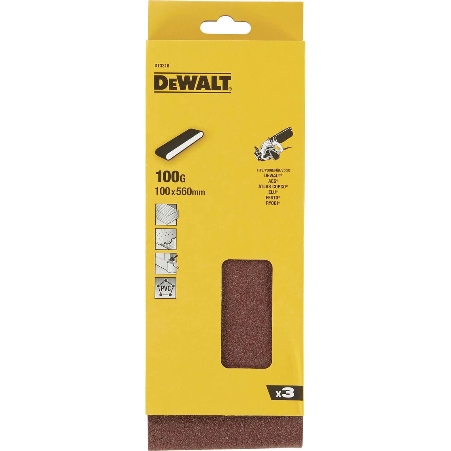 Image of DeWalt 100 x 560mm Multi Purpose Sanding Belts 100mm x 560mm 100g Pack of 3