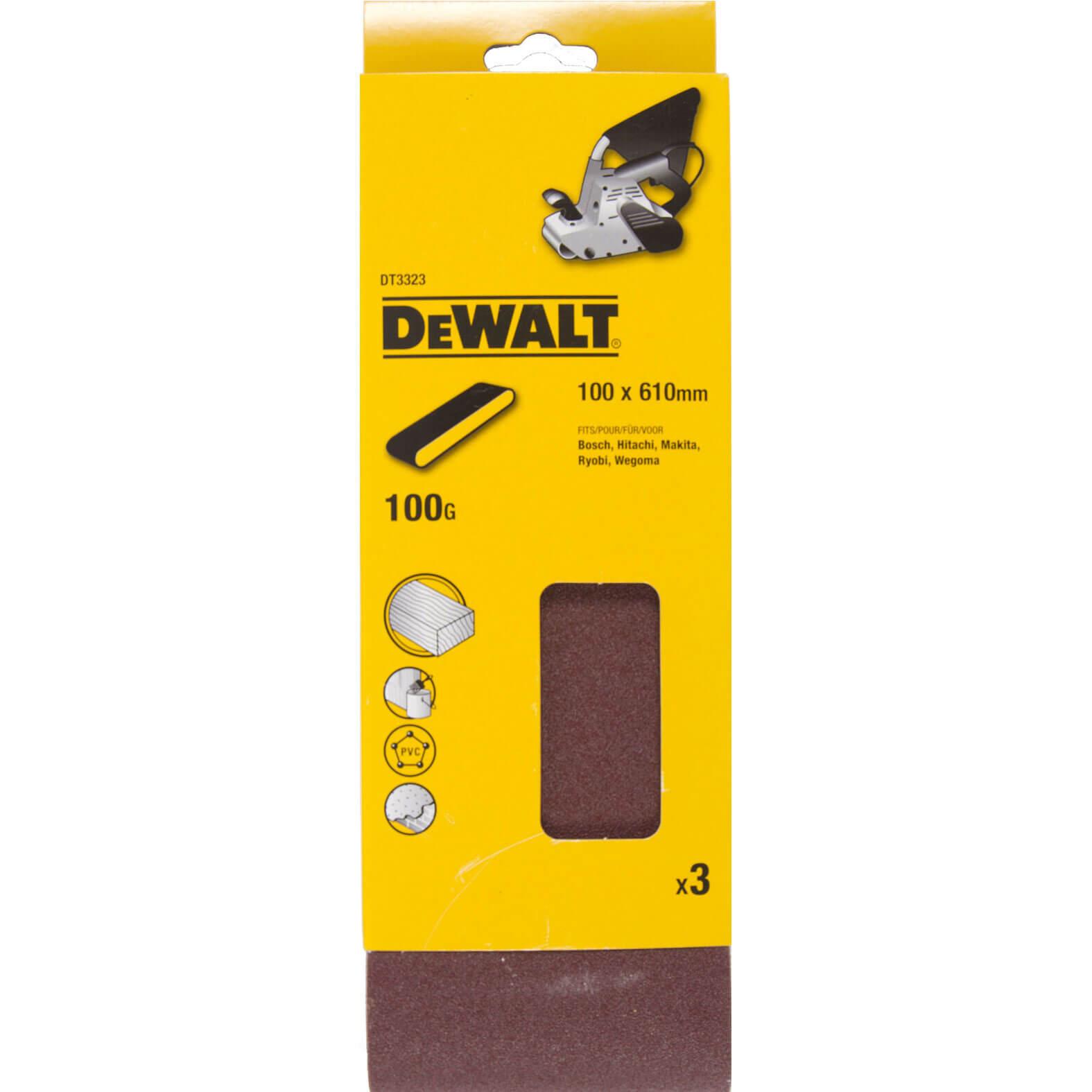 Image of DeWalt 100 x 610mm Multi Purpose Sanding Belts 100mm x 610mm 100g Pack of 3
