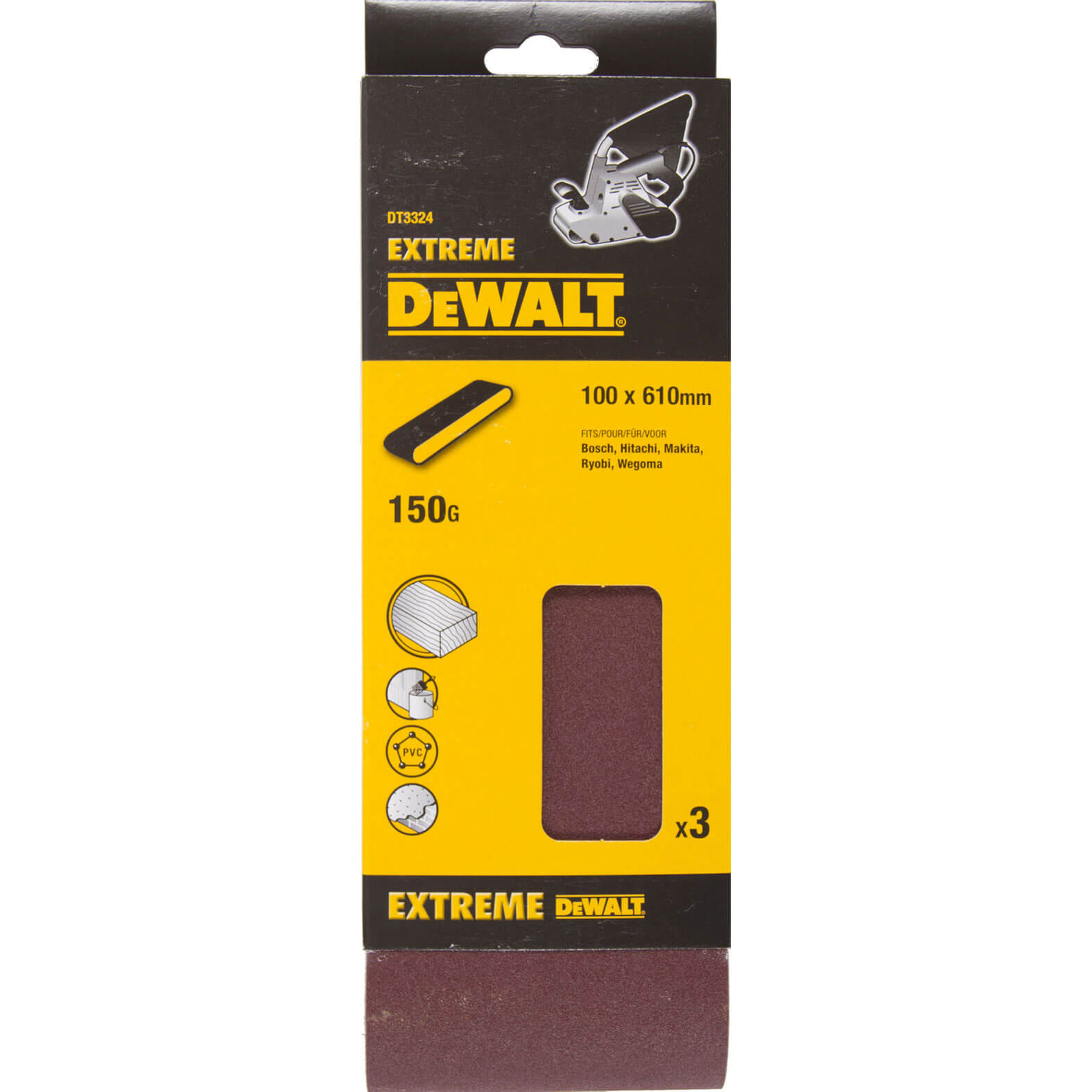 Image of DeWalt 100 x 610mm Multi Purpose Sanding Belts 100mm x 610mm 150g Pack of 3