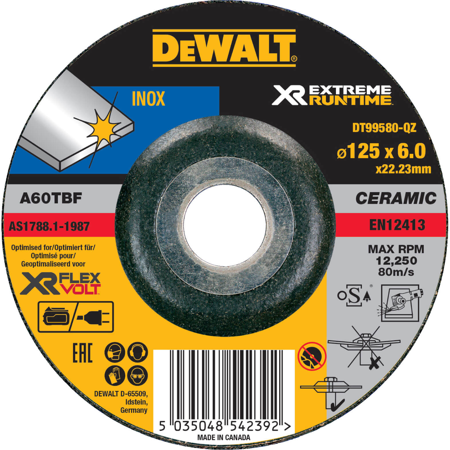 Image of DeWalt Extreme Runtime 125mm x 6mm Metal Grinding Disc