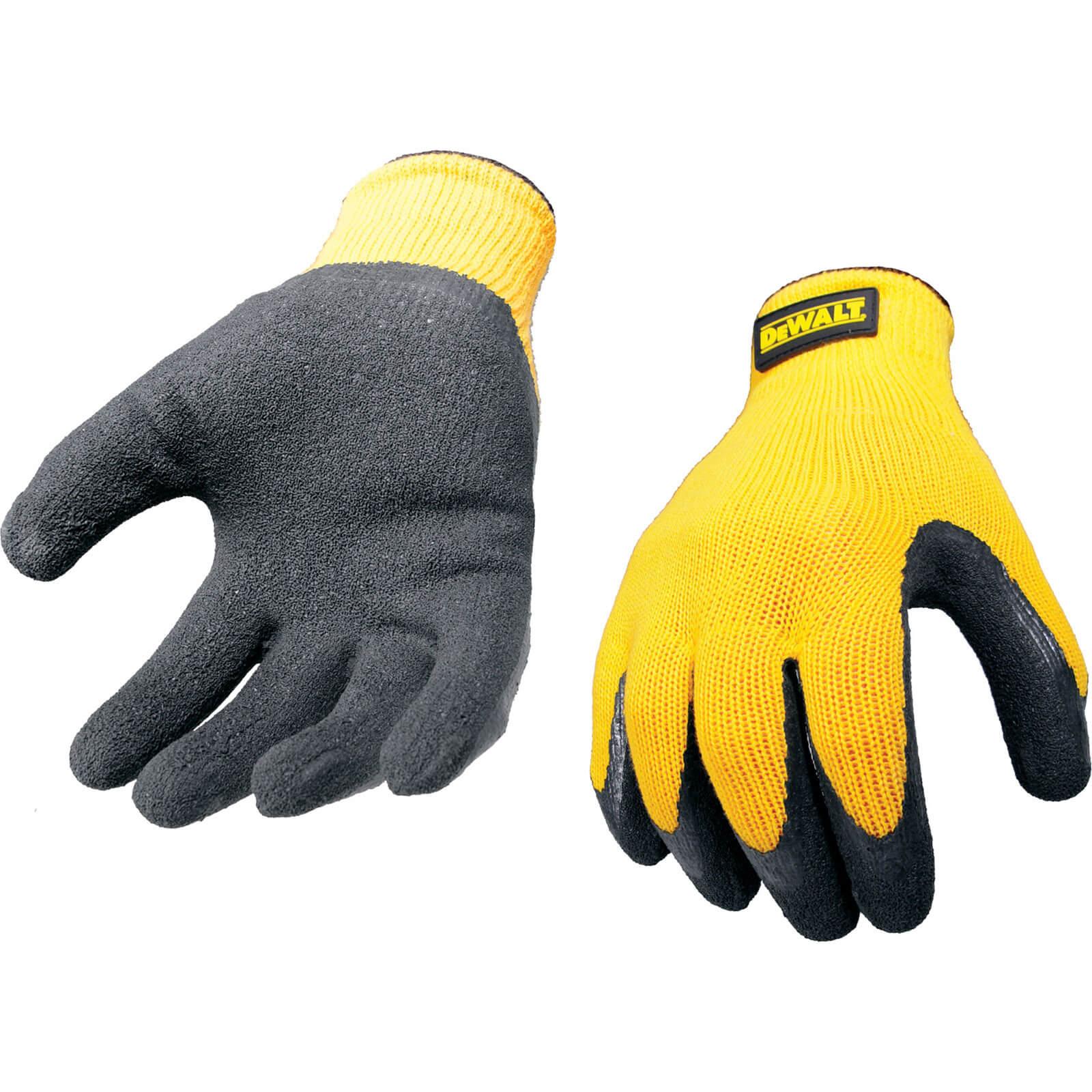 DeWalt Yellow Knit Back Latex Gloves L