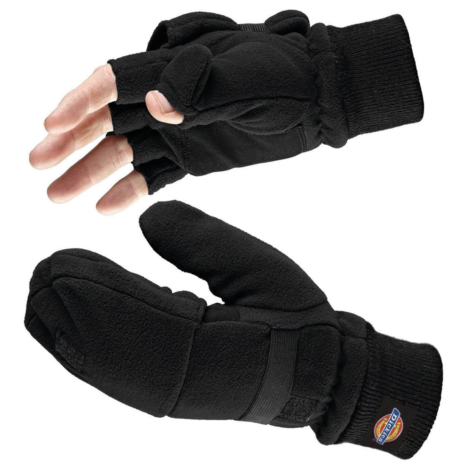 Image of Dickies Thinsulate Fingerless Gloves with Mitten Cover Black One Size