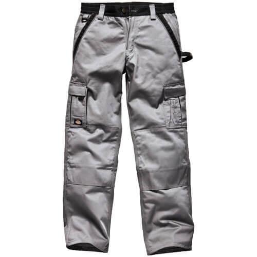 """Dickies Mens Industry 300 Two Tone Work Trousers Grey / Black 36"""" 35"""""""