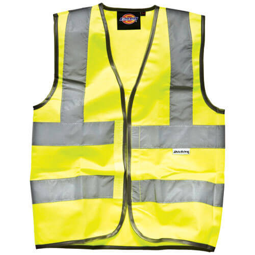 Image of Dickies Childrens High Vis Safety Waistcoat Yellow 10 - 12