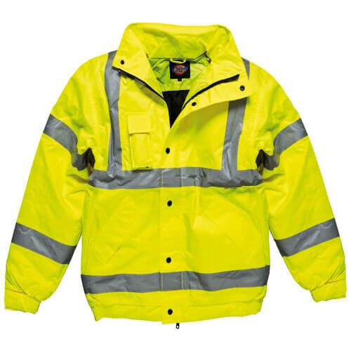 Dickies Mens High Vis Bomber Jacket Yellow 3XL
