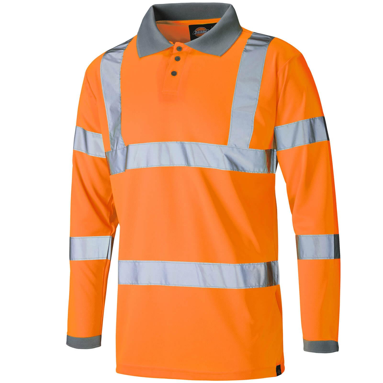 Image of Dickies Mens High Visibility Long Sleeve Polo Shirt Orange 2XL