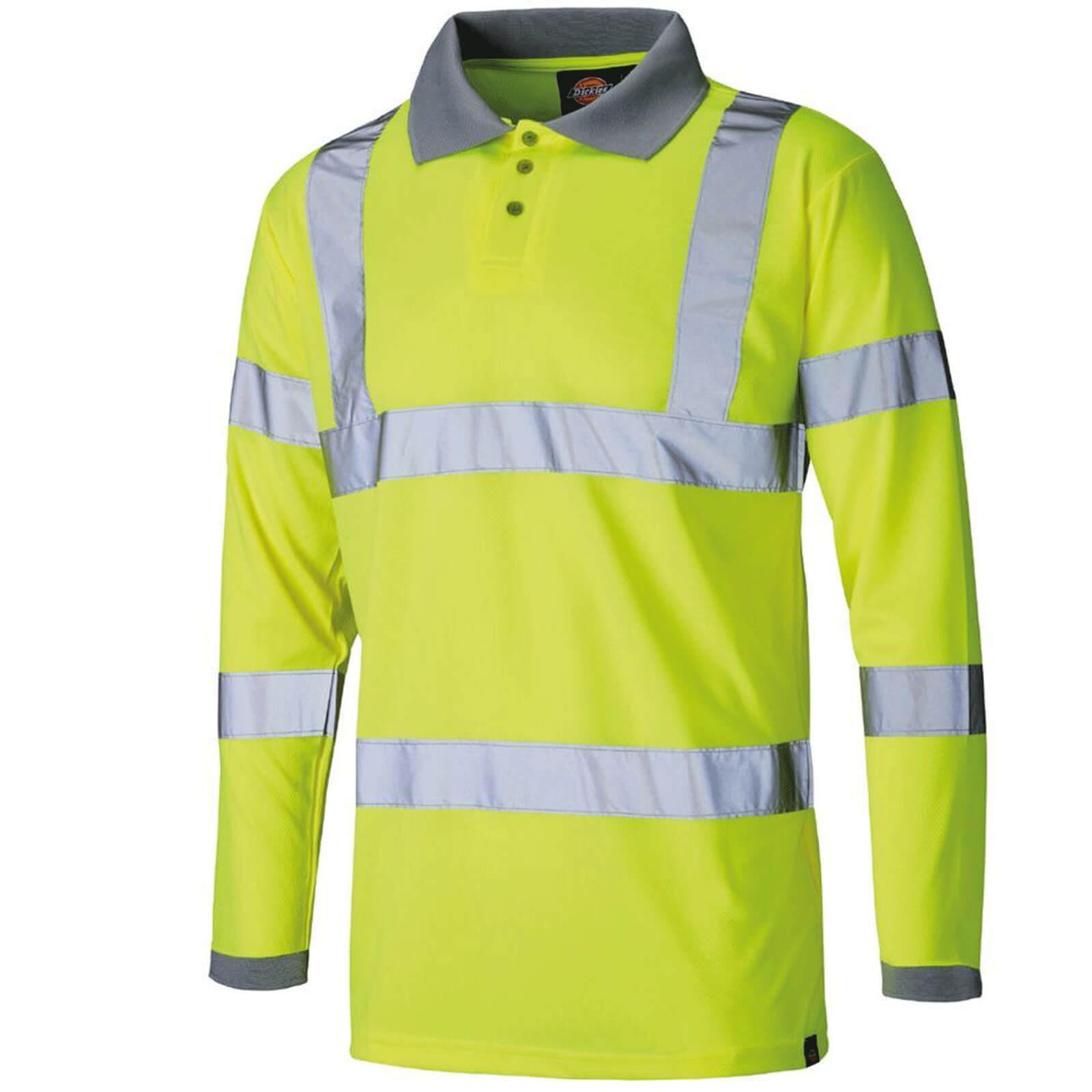 Image of Dickies Mens High Visibility Long Sleeve Polo Shirt Yellow 3XL