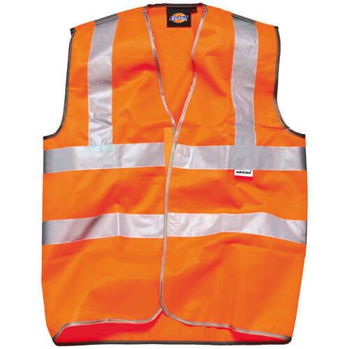 Image of Dickies High Vis Safety Highway Waistcoat Orange 2XL