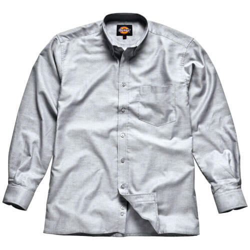 Dickies Mens Oxford Weave Long Sleeve Shirt Silver Grey Size 17