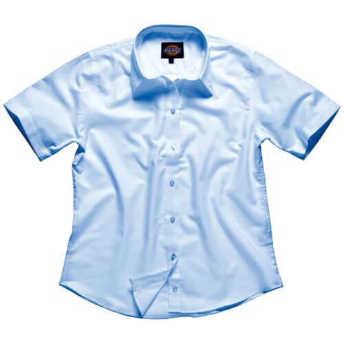 Dickies Ladies Oxford Weave Short Sleeve Shirt Blue Size 8
