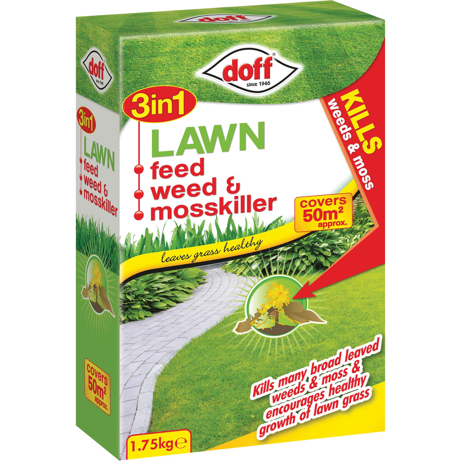 Image of Doff 3 in 1 Lawn Feed Weed & Moss Killer 1750g