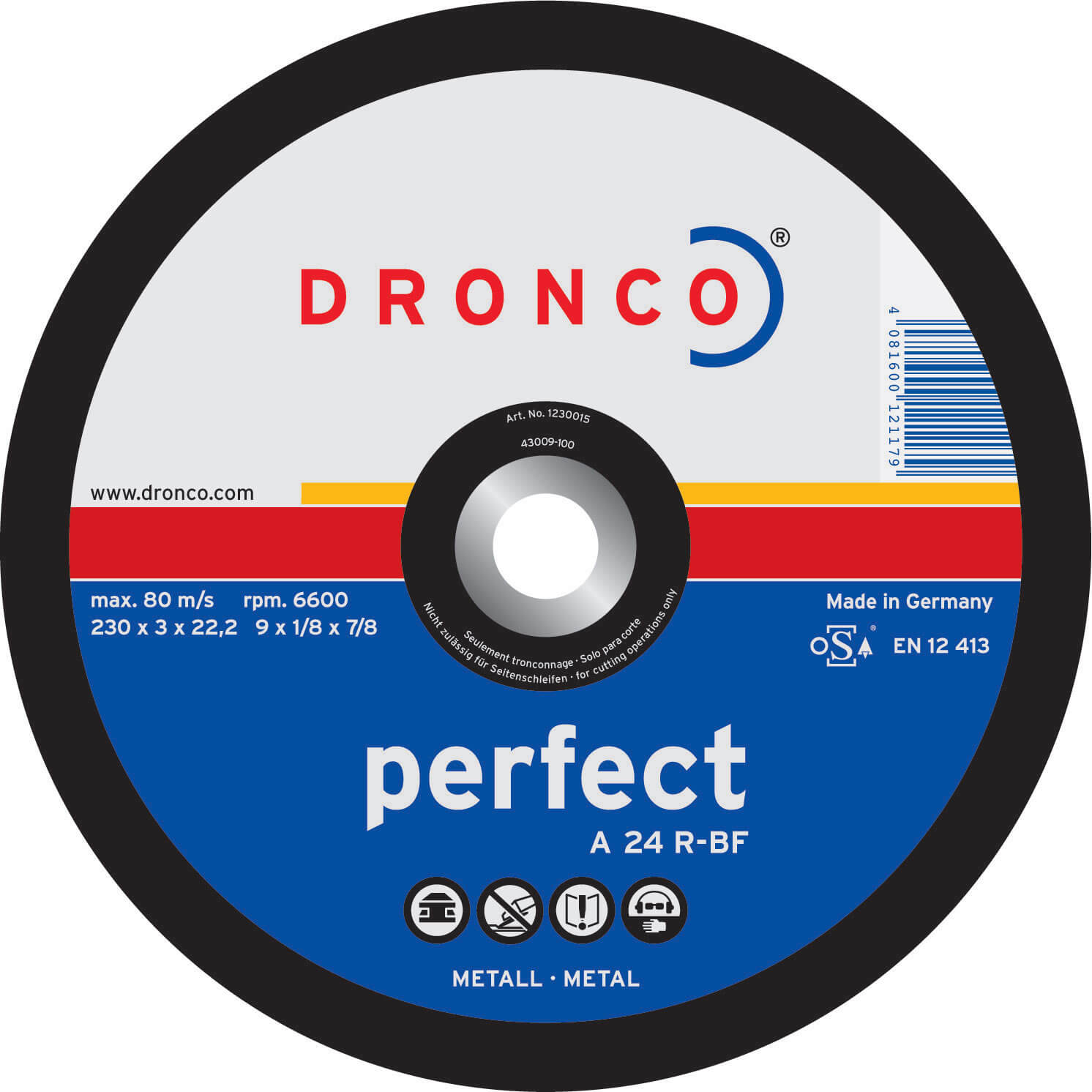 Image of Dronco A 24 R PERFECT Flat Metal Cutting Disc 100mm Pack of 1