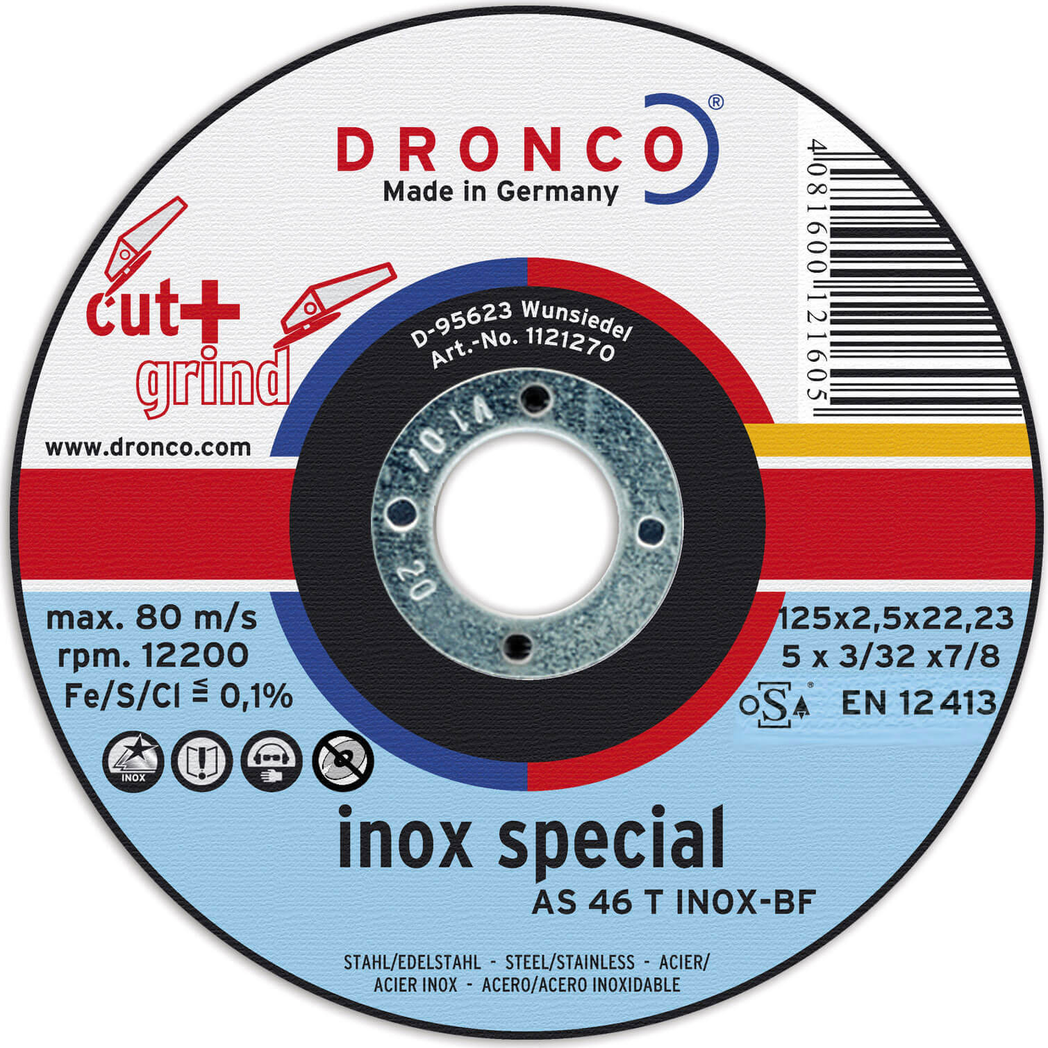 Image of Dronco AS 46 T INOX Thin Stainless Steel Cutting Disc 125mm Pack of 1