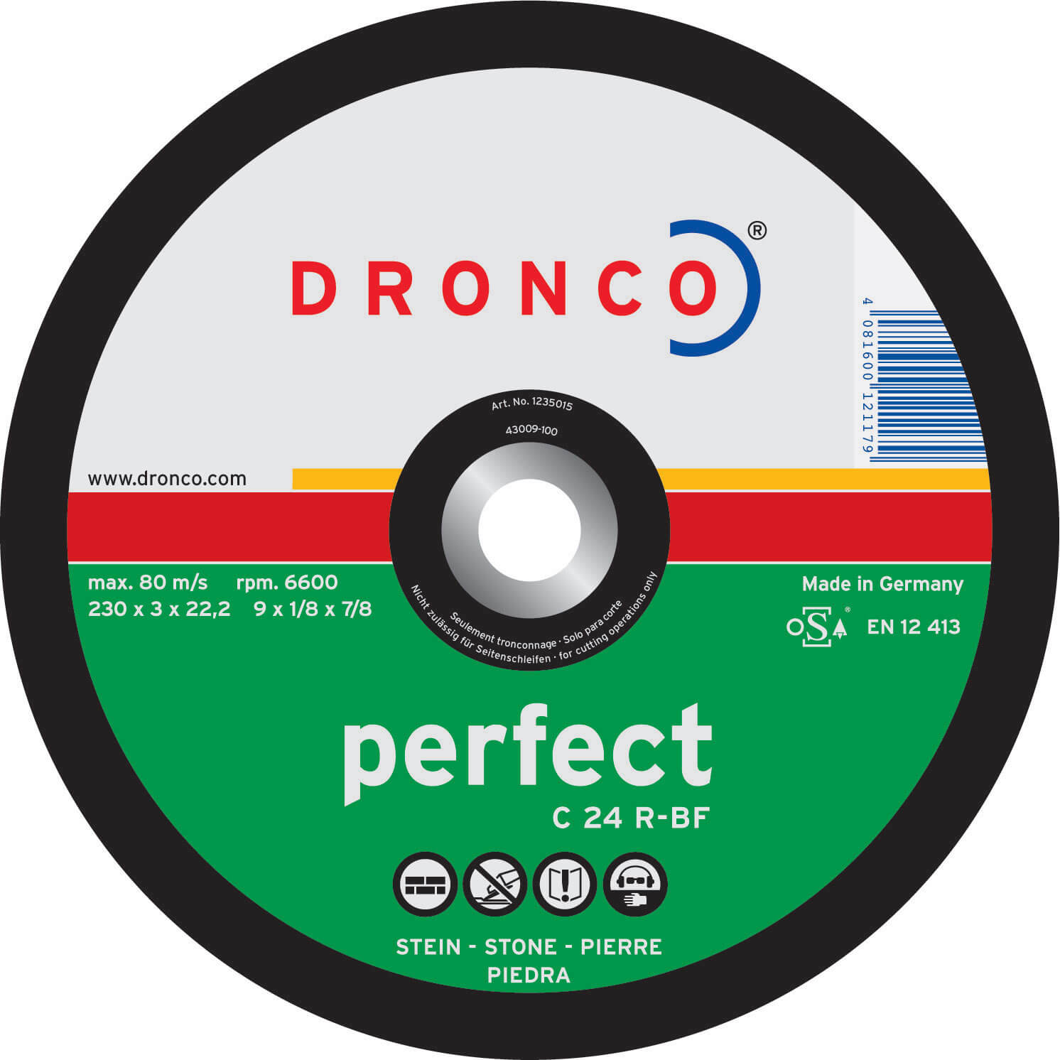 Image of Dronco C 24 R PERFECT Flat Stone Cutting Disc 125mm Pack of 1
