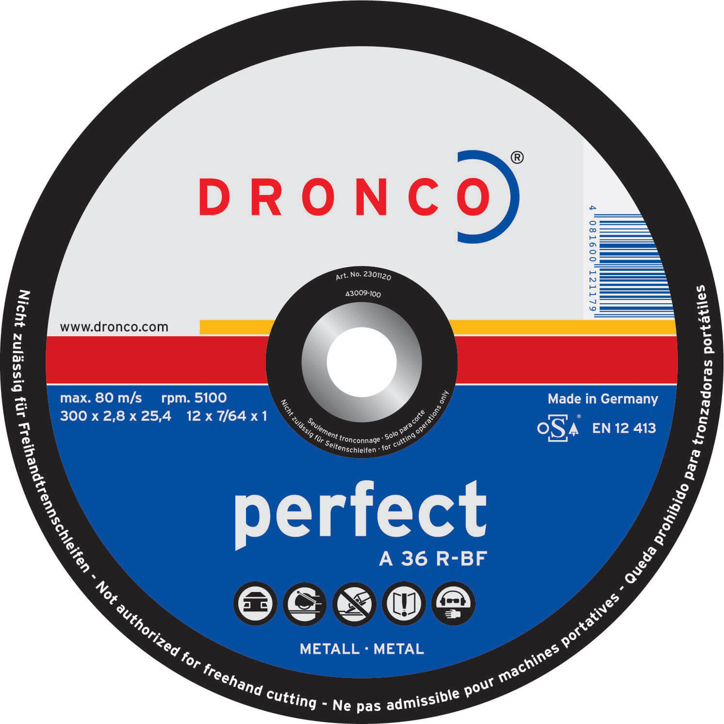 Image of Dronco A 36 R PERFECT Flat Metal Cutting Disc 350mm Pack of 1