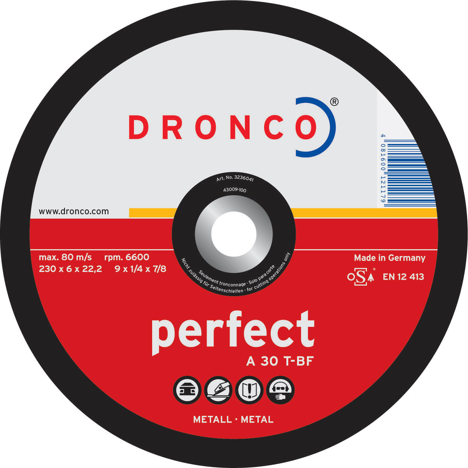 Image of Dronco A 30 T PERFECT Depressed Metal Grinding Disc 100mm Pack of 1