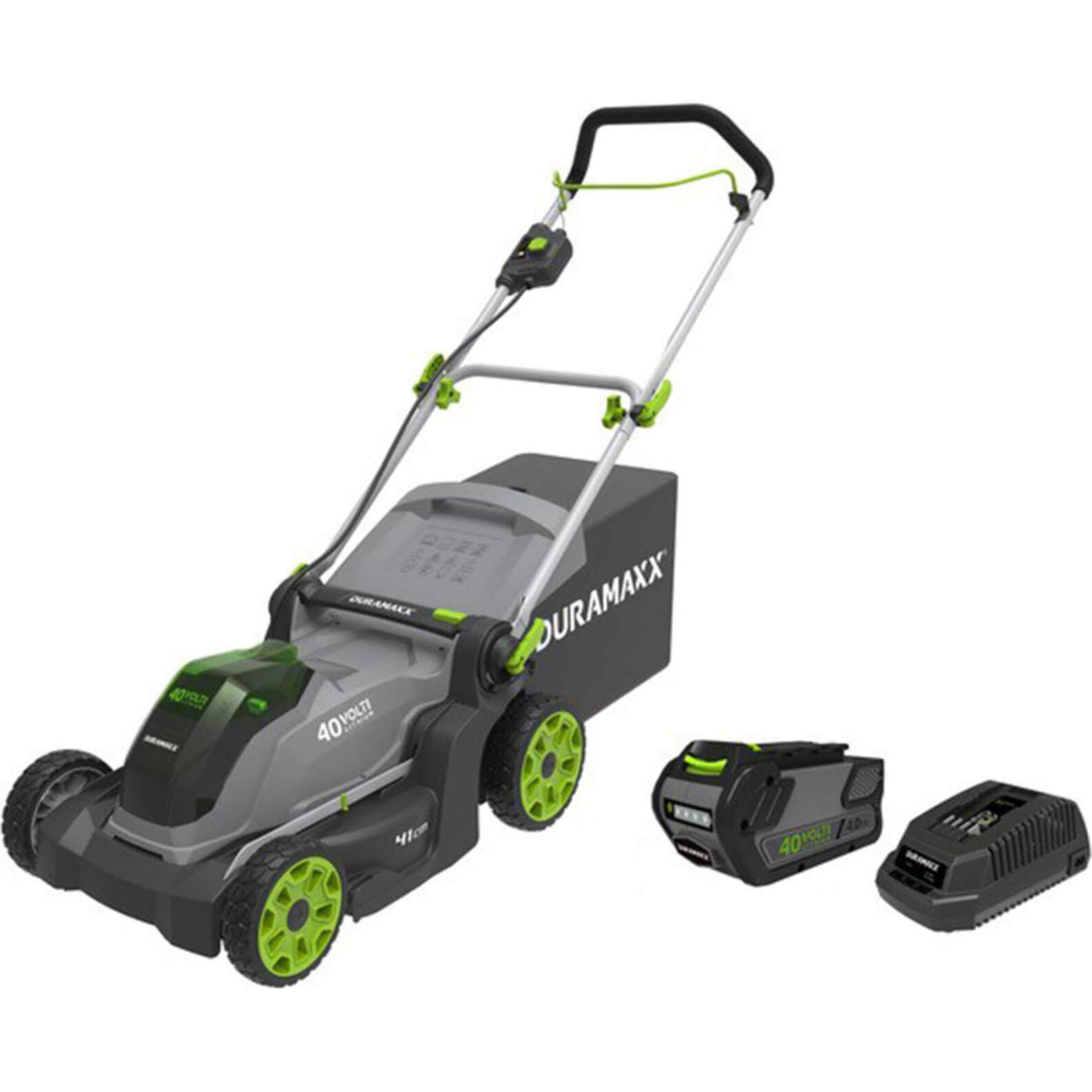 Image of Duramaxx DM40LM41 40v Cordless Rotary Lawnmower 410mm 1 x 4ah Li-ion Charger
