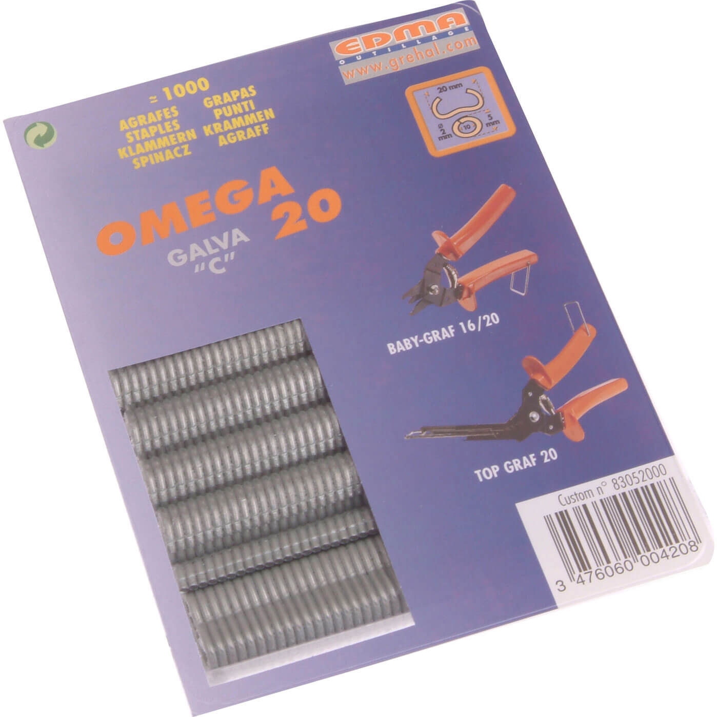 Image of Edma Galv Steel Hog Ring Omega Size 20 Pack of 1000