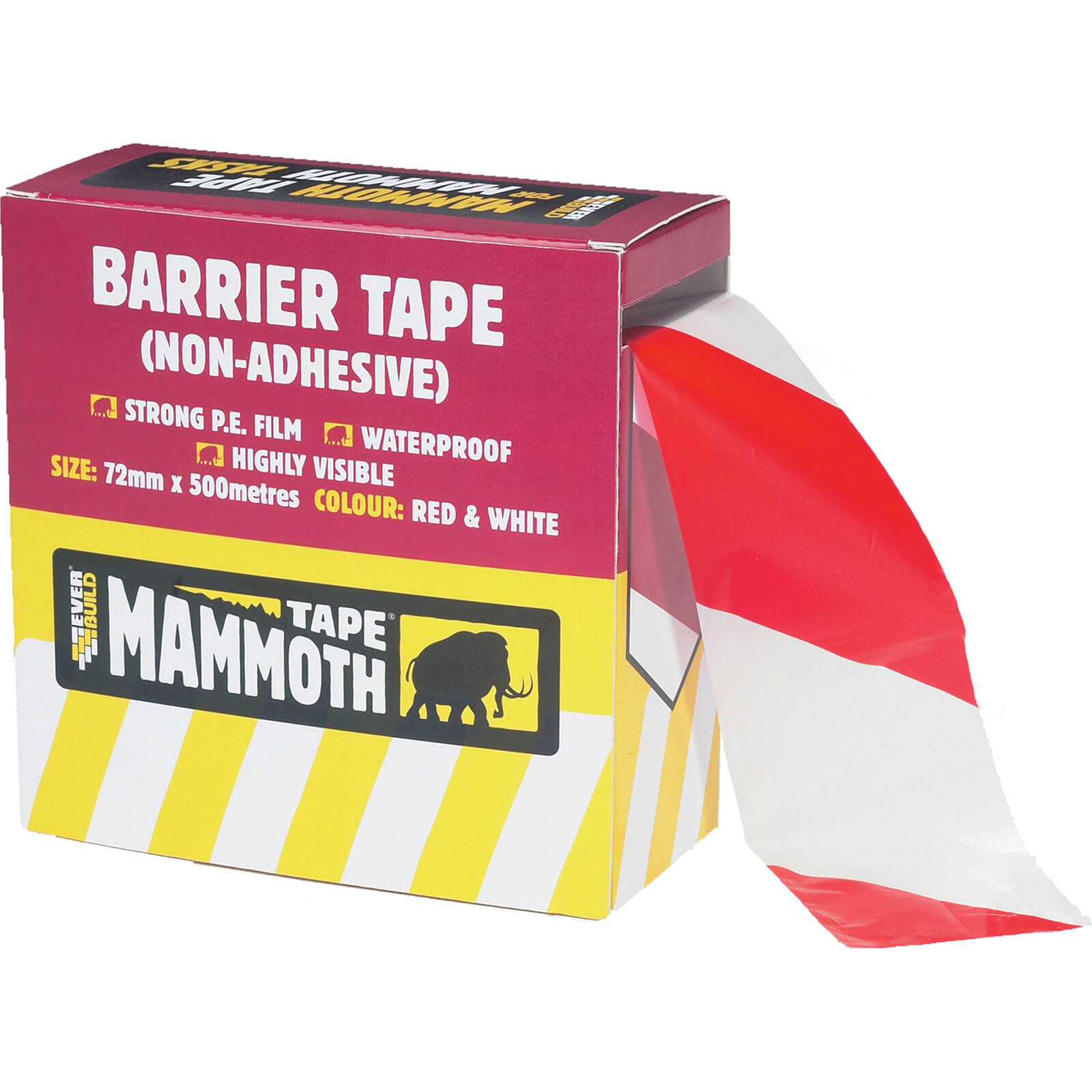 Image of Everbuild Non Adhesive Barrier Tape Red / White 72mm 500m