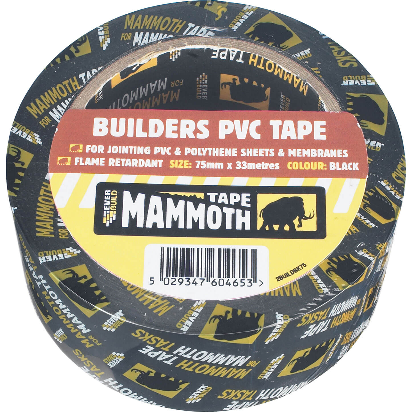 Image of Everbuild Mammoth Builders PVC Black Tape Black 50mm 33m
