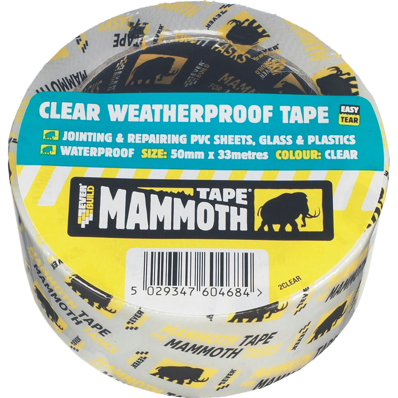Image of Everbuild Mammoth Weatherproof Clear Tape Clear 50mm 10m