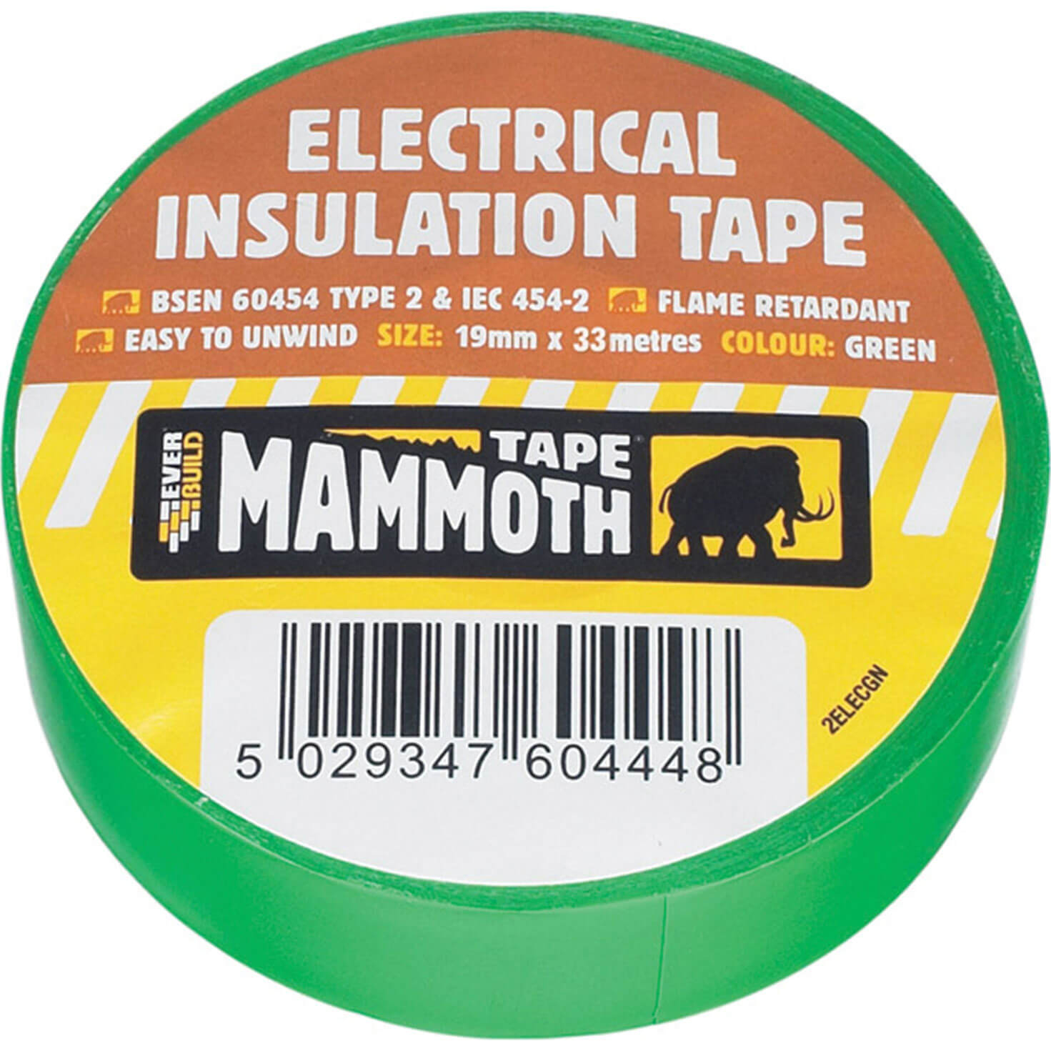 Image of Everbuild Electrical Insulation Tape Green 19mm 33m