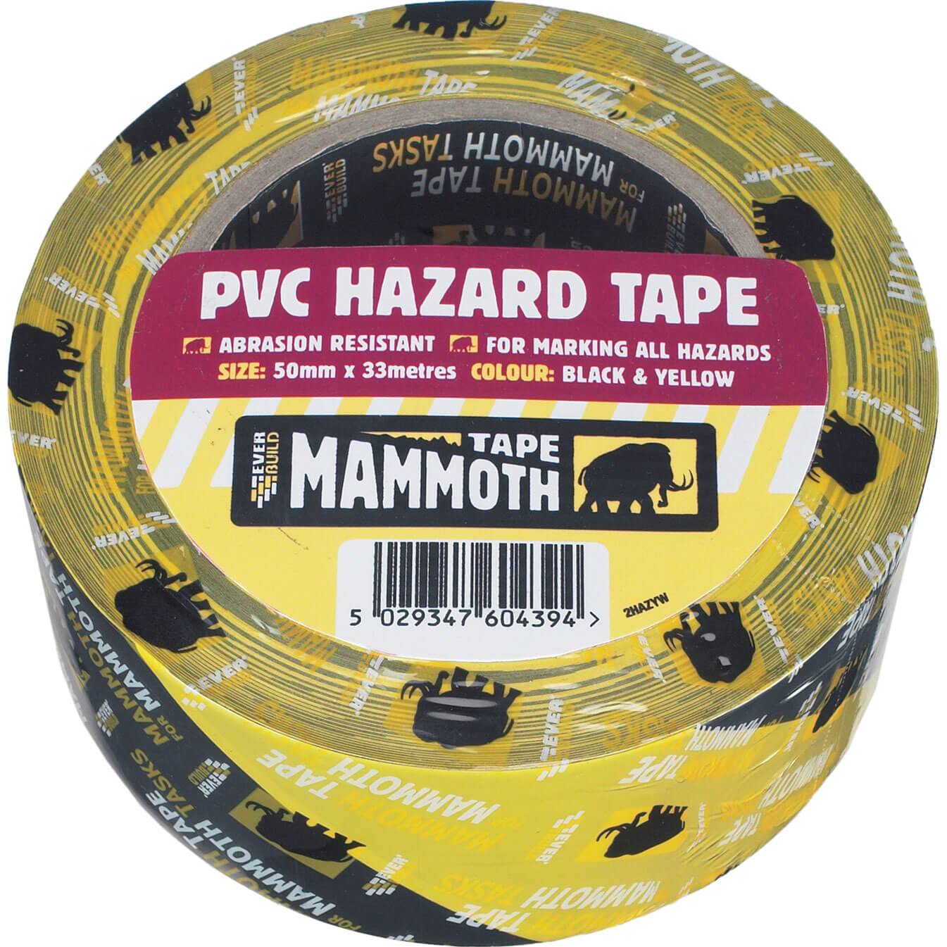 Image of Everbuild PVC Hazard Tape Black / Yellow 50mm 33m
