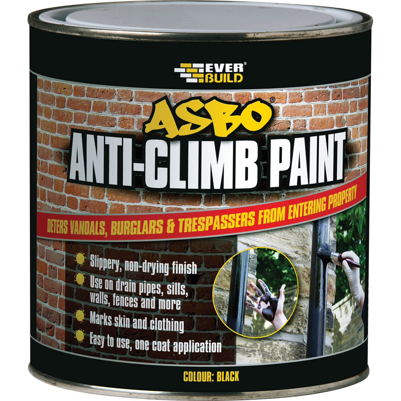 Image of Everbuild Asbo Anti-Climb Paint Black 1l