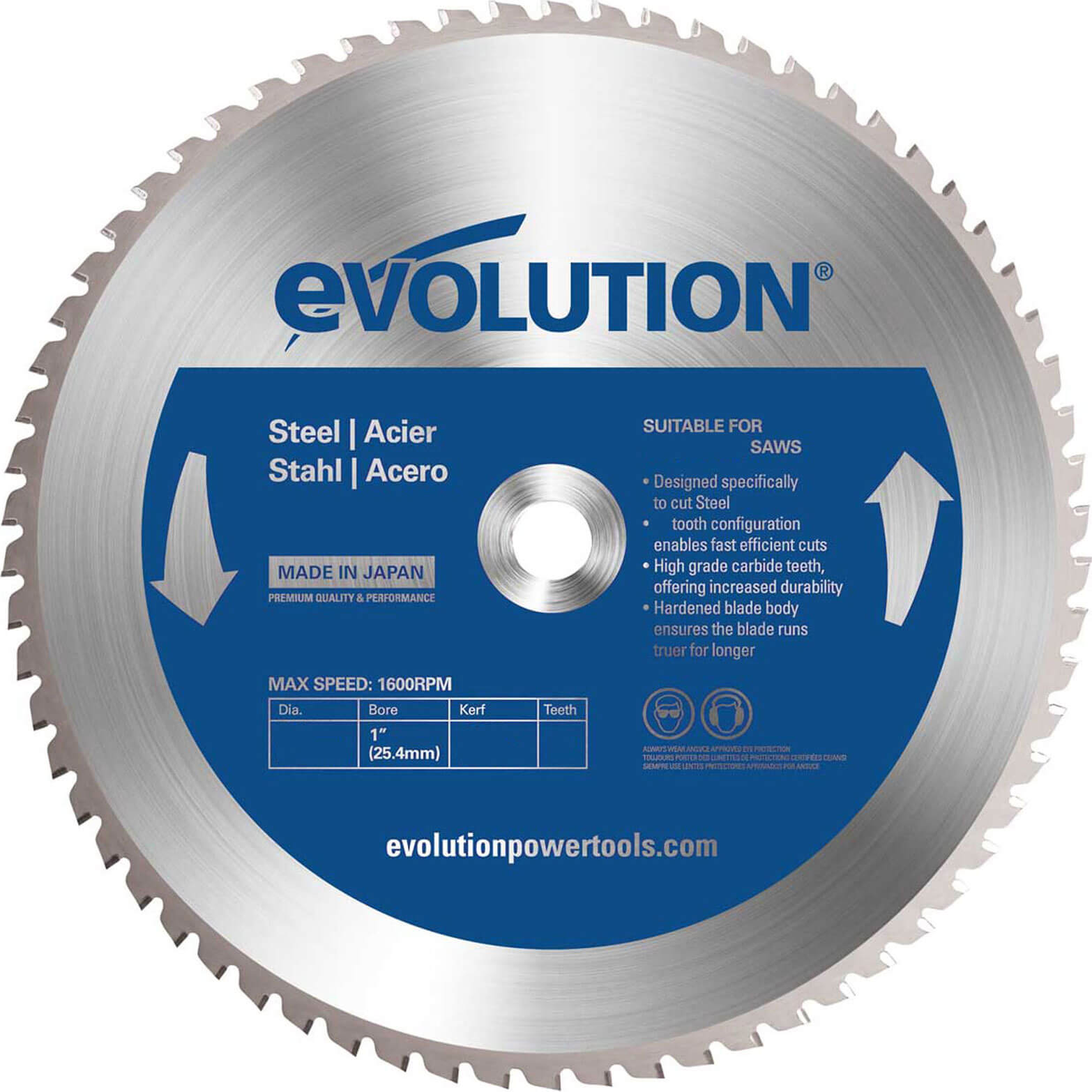 Image of Evolution Mild Steel Cutting Saw Blade 305mm 60T 25.4mm